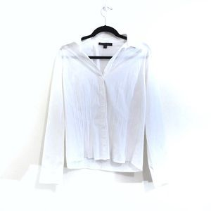 Lafayette 148 White Button Down Fitted Blouse